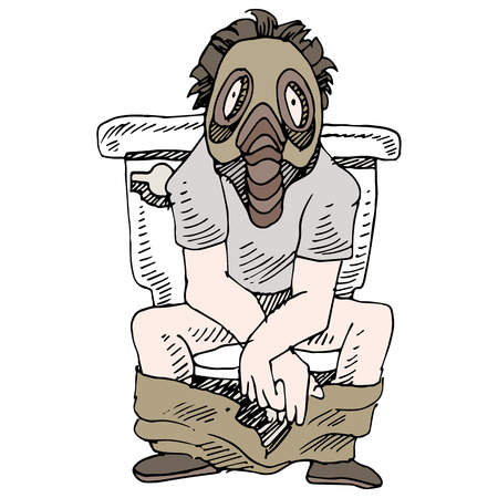 commode: An image of a man sitting on a smelly toilet wearing gas mask. Illustration