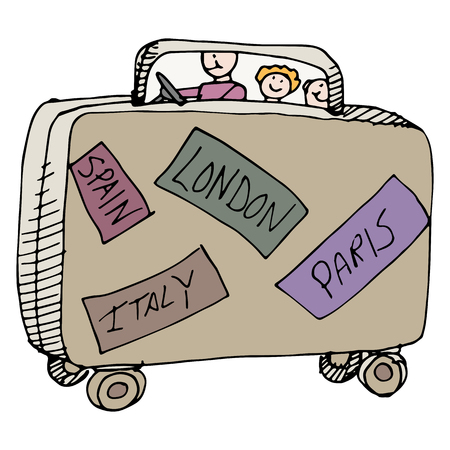 family holiday: An image of a family of travelers in a suitcase. Illustration