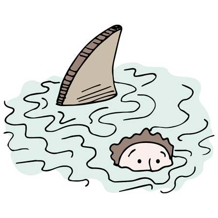 dangerous man: An image of a man swimming with a shark. Illustration