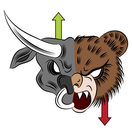 An image of a bull versus bear drawing. Vector