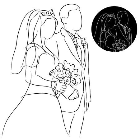 bride bouquet: An image of a wedding couple. Illustration