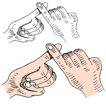 swear: An image of a pinky swear handshake. Illustration