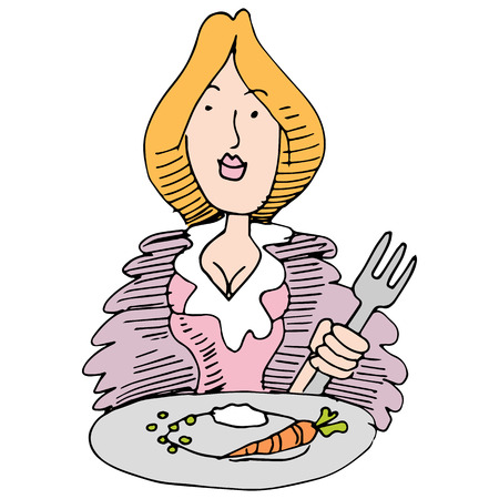 low calories: An image of a woman eating small food portions.
