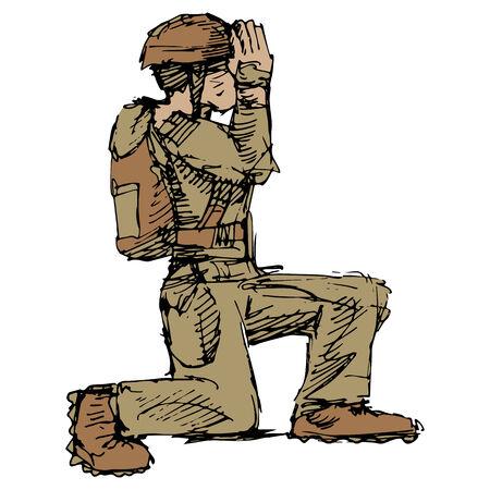 ajoelhado: Uma imagem de um soldado ajoelhado saudando.