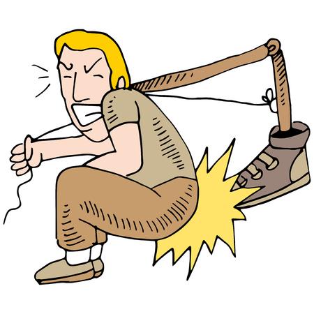 自分自身を蹴る人のイメージ。