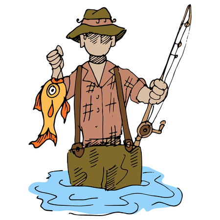 wading: An image of a fisherman wading in the lake.