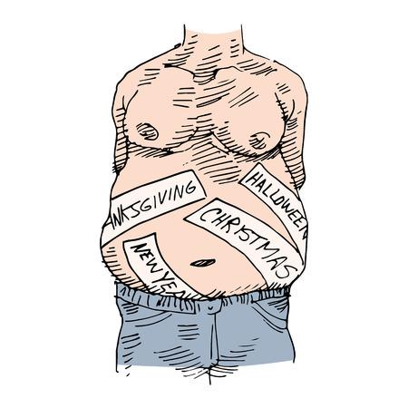 Een beeld van een man die het verkrijgen van gewicht tijdens de feestdagen.