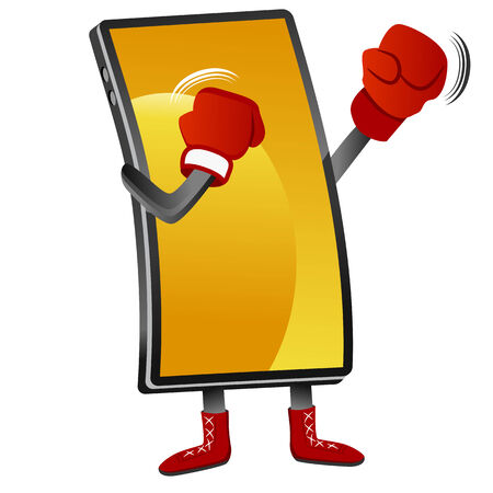 An image of a boxing smartphone. Ilustrace