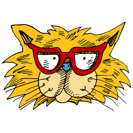 An image of a cat wearing eyeglasses. Vector