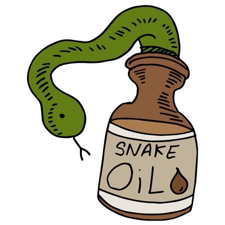 worthless: An image of a snake oil bottle.