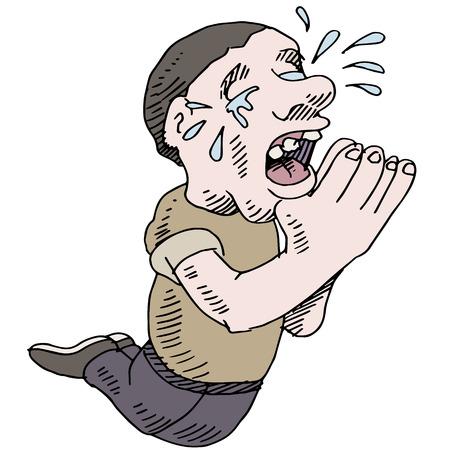 Een beeld van een man bedelen vergeving. Stock Illustratie