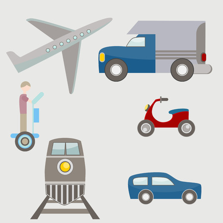 An image of flat transportation icons.