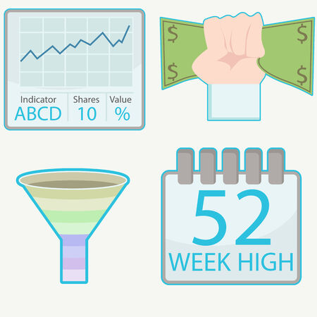 funnel: An image of stock trading icons. Illustration