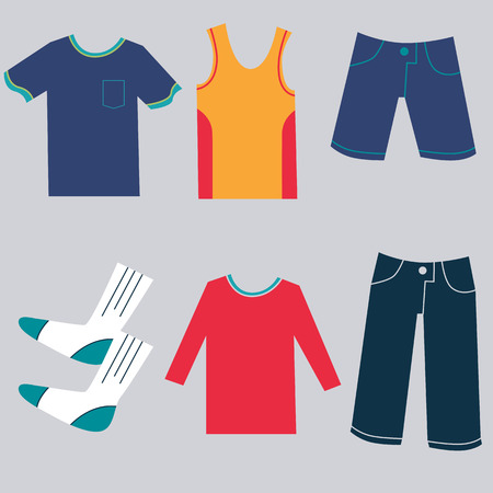 An image of a flat clothing icons.
