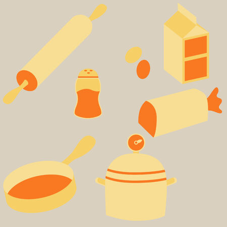 An image of flat cooking icons.