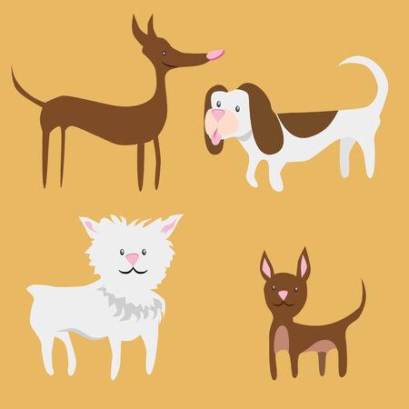 diminuto: Una imagen de los perros peque�os. Vectores