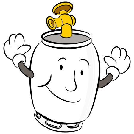 propane tank: An image of a propane tank cartoon character.