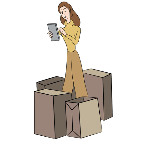An image of a woman shopping online.