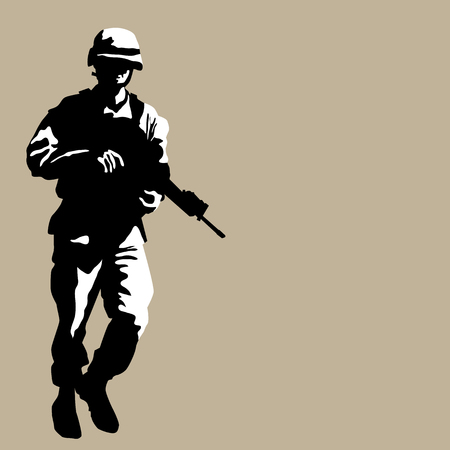 fatigues: An image of an armed soldier.