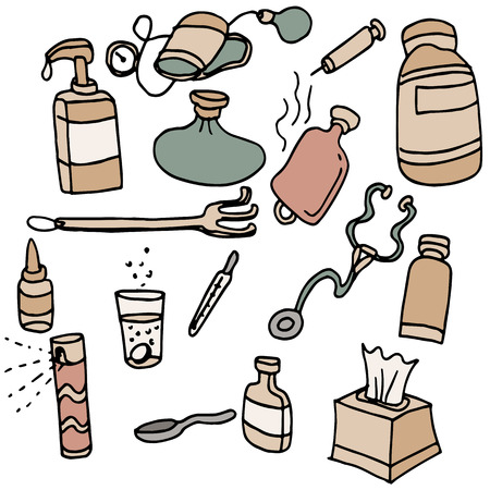 An image of set of bathroom items. Vector