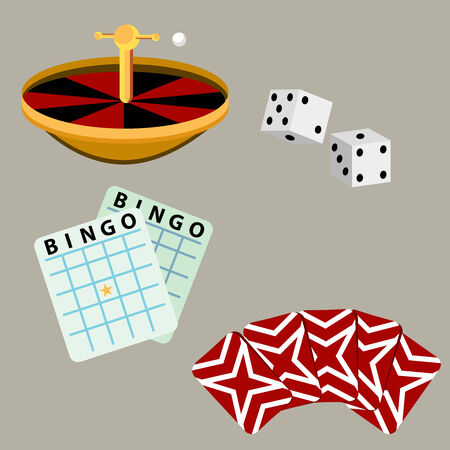 An image of a set of gambling casino games. Vector