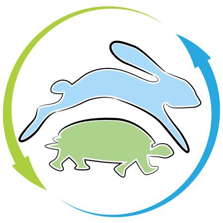tortuga: Una imagen de un ciclo de carrera liebre tortuga. Vectores