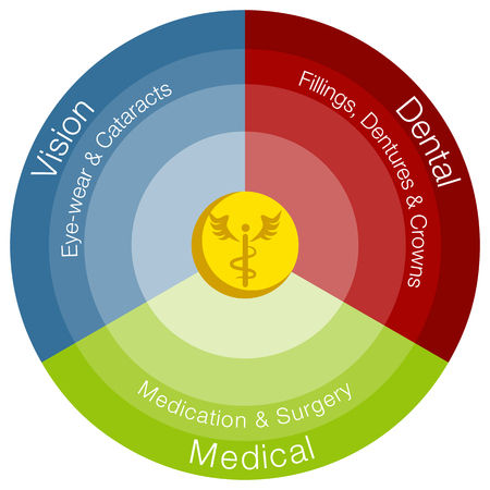 An image of a healthcare categories chart. Vector