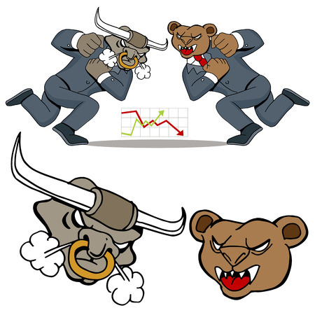 An image of a bull bear stock market battle. Vector