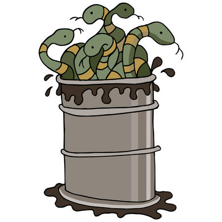 worthless: An image of a snake oil barrel.