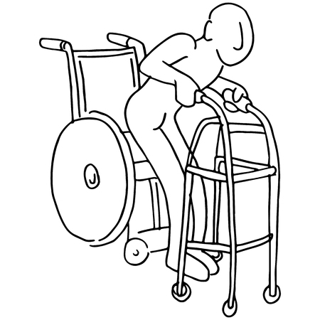 physical therapy: An image of a man moving from a wheelchair to a walker.