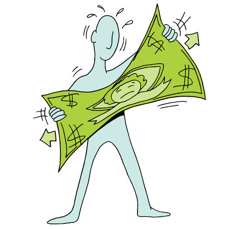 tight: An image of a man stretching a dollar. Illustration