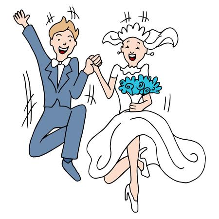 Een beeld van een paar nemen van een sprong in het huwelijk. Stock Illustratie