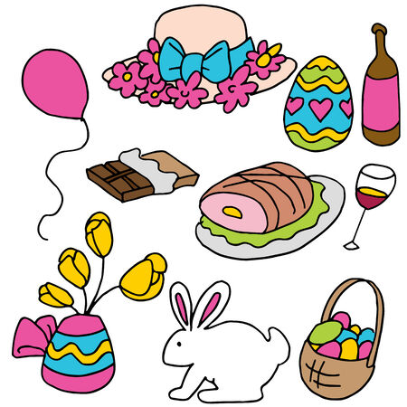 An image of a set of Easter spring items. Vector