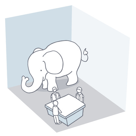 An image of an elephant in the room metaphor. Illustration