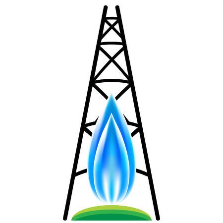 천연 가스 수압 파쇄 아이콘의 이미지입니다.