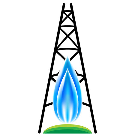 An image of a natural gas fracking icon. Illustration