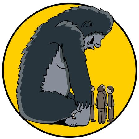 blocco stradale: L'immagine di un gorilla � 800 in camera. Vettoriali