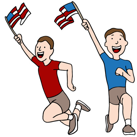 loyalist: An image of patriotic runners.