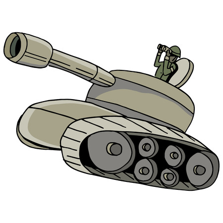 An image of a military tank. Vector