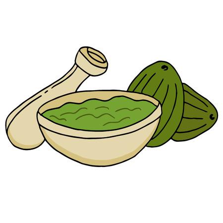 avocados: An image of avocados and guacamole in a bowl.