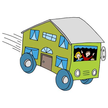 Una imagen de una casa móvil. Ilustración de vector