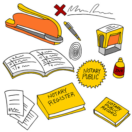 An image of notary public items. Illustration