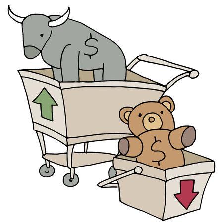 An image of bull and bear shopping carts. Illustration