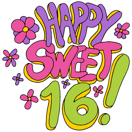 An image of a happy sweet sixteen message. Vector