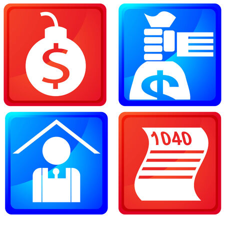 wage: An image of tax service buttons. Illustration