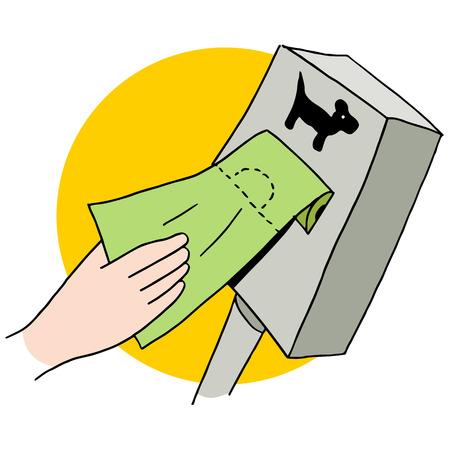An image of a dog poop bag dispenser. Ilustracja