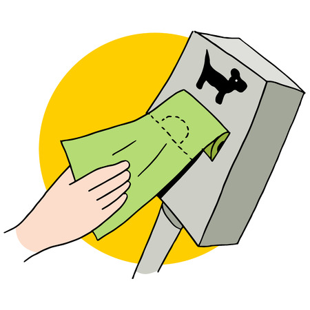 An image of a dog poop bag dispenser. Illustration
