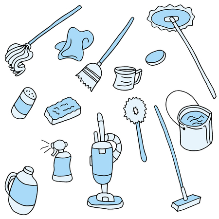 An image of cleaning items. Vector