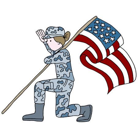 ajoelhado: Uma imagem de um soldado feminino saudando enquanto ajoelhado e segurando a bandeira americana. Ilustração
