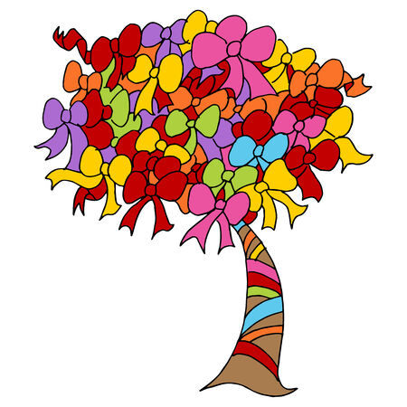 An image of a charity ribbon tree. Vector